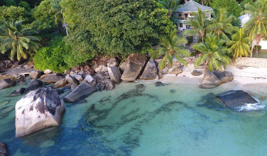 Aerial view of Roseharrycove , with secluded beach in Mahe, Seychelles, Seychelles, Seychelles