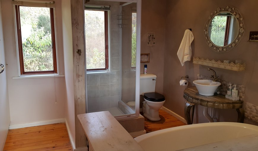 Main bathroom with bath, shower and toilet