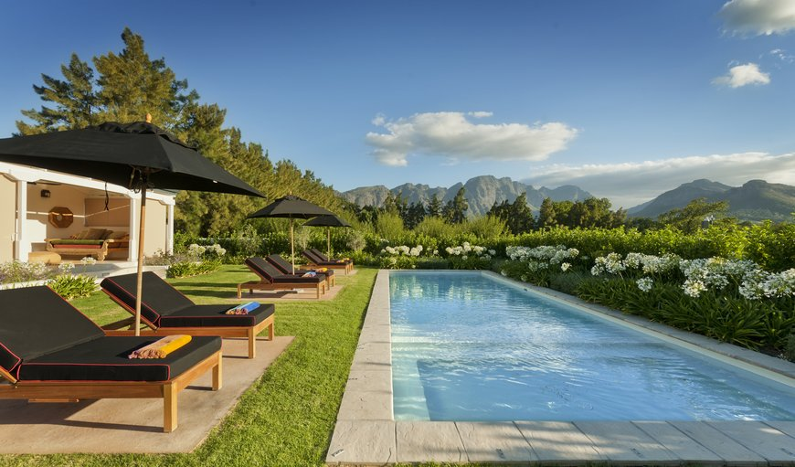In the heart of the Franschhoek Winelands, the two farms of La Clé des Montagnes are only a 4-minute stroll from the Franschhoek village centre and overlook picturesque vineyards and mountains.  in Franschhoek, Western Cape , South Africa