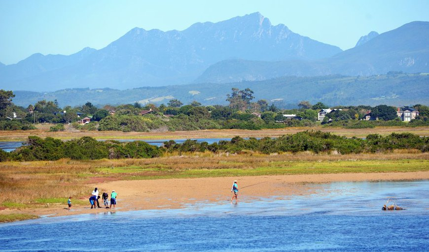 View from the veranda of the Sedgefield lagoon and George mountains in Sedgefield, Western Cape , South Africa