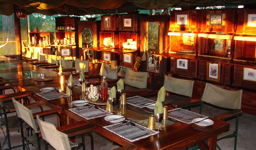 You'll dine in the mess tent, at a long communal table and surrounded by safari memorabilia. The atmosphere evokes that of safaris of the past.