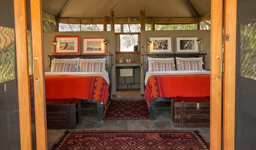 Freshly renovated  tented accommodation with en-suite bathroom as well as outdoor shower and loo. Private verandah with beautiful views over the Boteti River and Makgadikgadi Pan National Park.