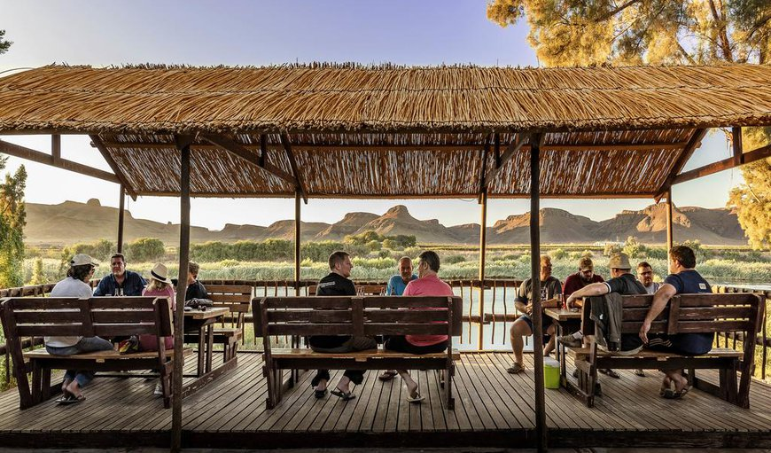 Orange River Rafting Lodge deck with river views