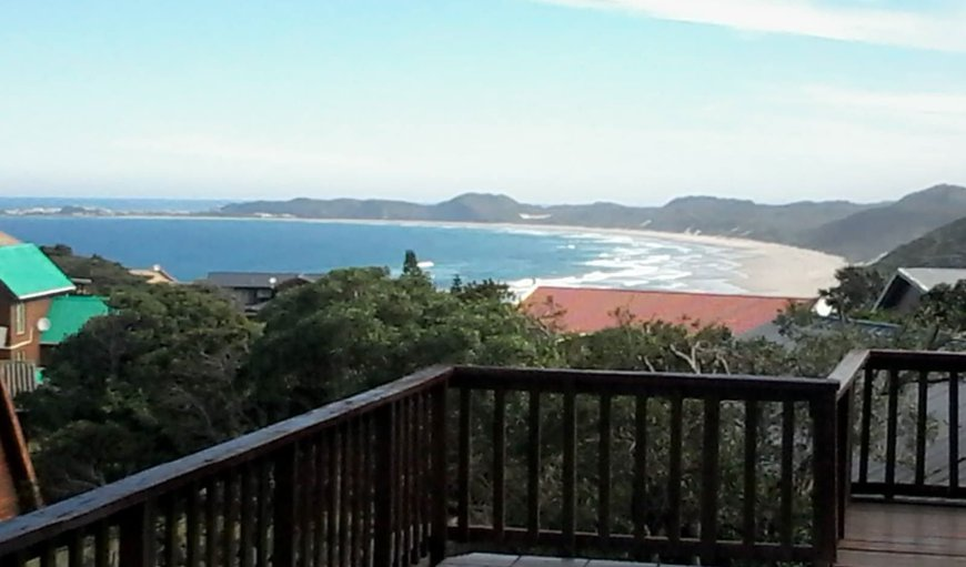 View of Brenton`s main beach from southern/front deck in Brenton on Sea, Knysna, Western Cape, South Africa