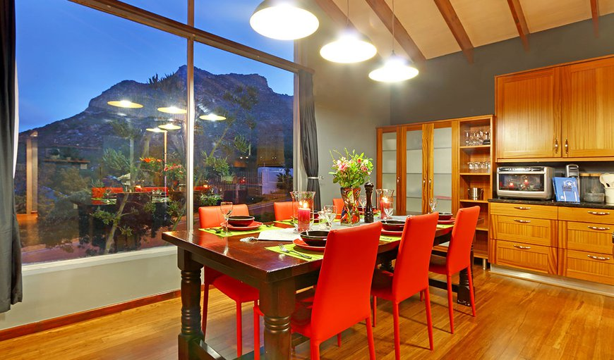 Mountains, dining area and kitchen