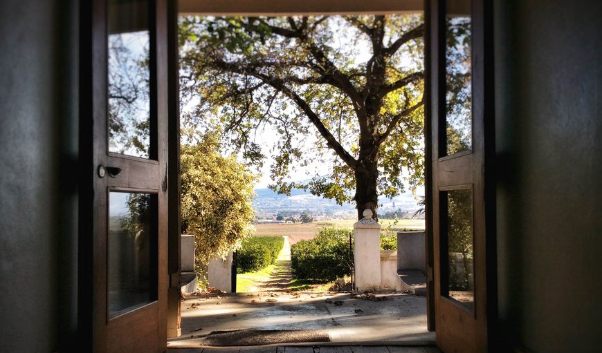 The front doors of The Cottage and its beautiful view over the Farm and Paarl Mountain in Southern Paarl, Paarl, Western Cape, South Africa