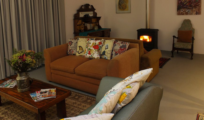 Blombos House - living room with wood stove