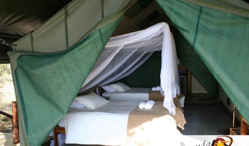 Bungalow appointed thatched bungalows located on the banks of the Okavango River, with en-suite bathrooms.