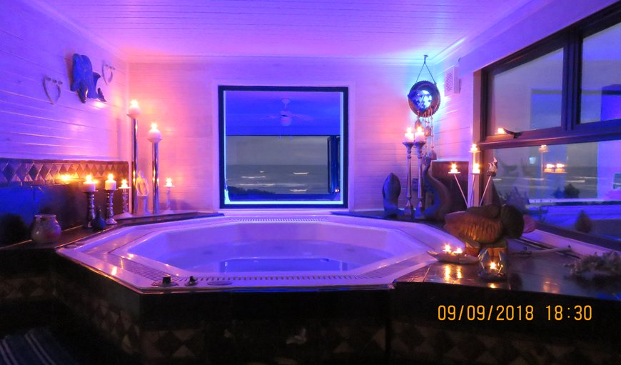 romantic jacuzzi with lots of candles and sea view in Jeffreys Bay, Eastern Cape, South Africa