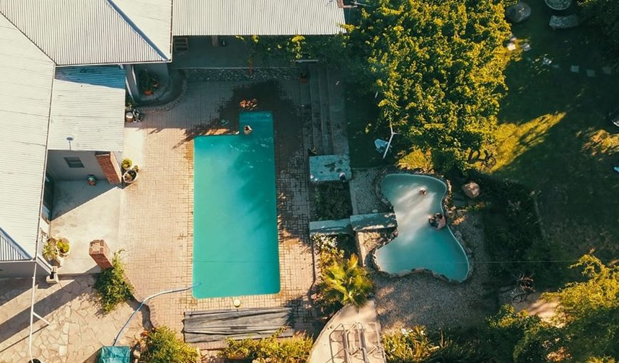 Aerial photo of the pool area in the garden in Colesberg, Northern Cape, South Africa