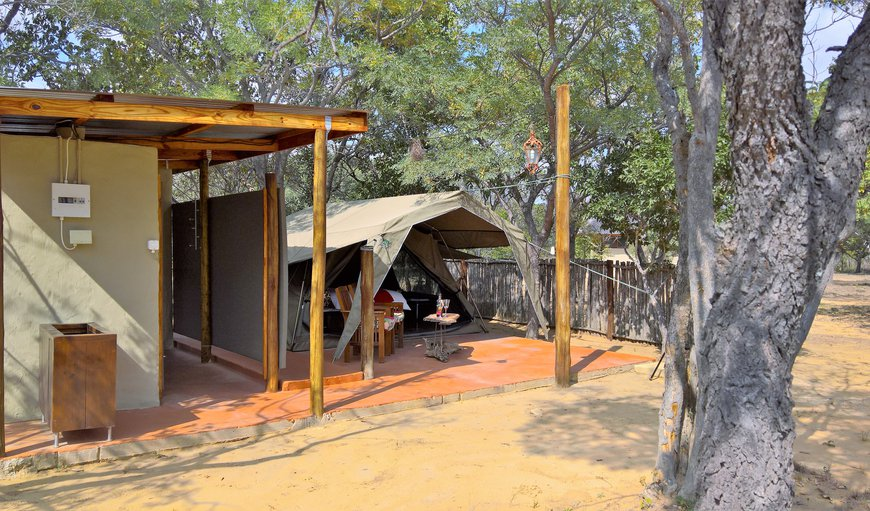overview of the Civet Safari Tent, het that real bush feeling but don't compromise with luxury. Enjoy your wooden flooring, electric blankets and rain shower. brush your teeth overlooking the bush and charge your cellphone next to your bed. enjoy!