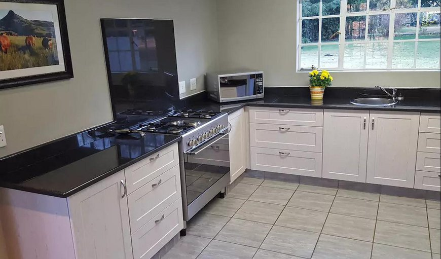 Fully equipped kitchen with microwave, gas stove and electric oven