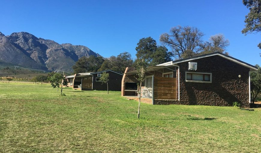 Chalets with a mountain backdrop in Wolseley, Western Cape, South Africa