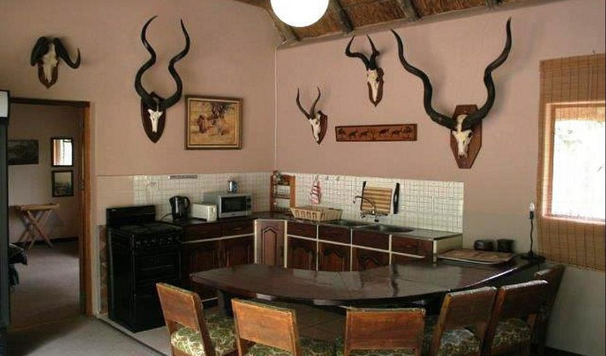 Leopard kitchen area with a dinning table and chairs.