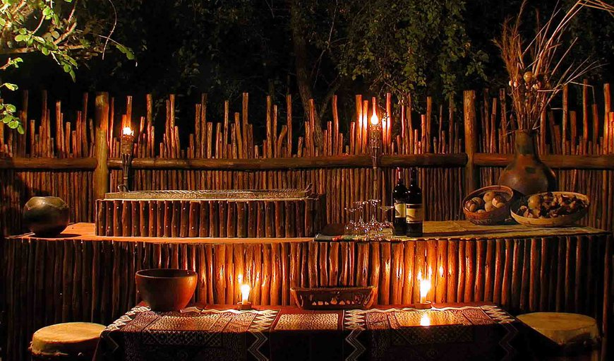 3-course dinners are served outside in our boma under the Afican sky by candle light