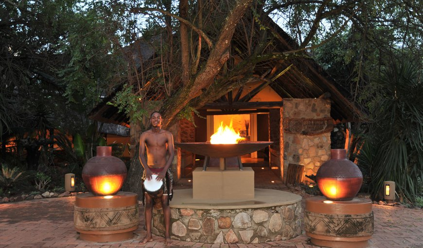 Entrance at night- An Extraordinary encounter with South Africa's bushveld awaits you at Mabula Game Lodge, located just two-and-a-half hours' drive from Johannesburg in the Malaria Free Waterberg region of the Limpopo Province.