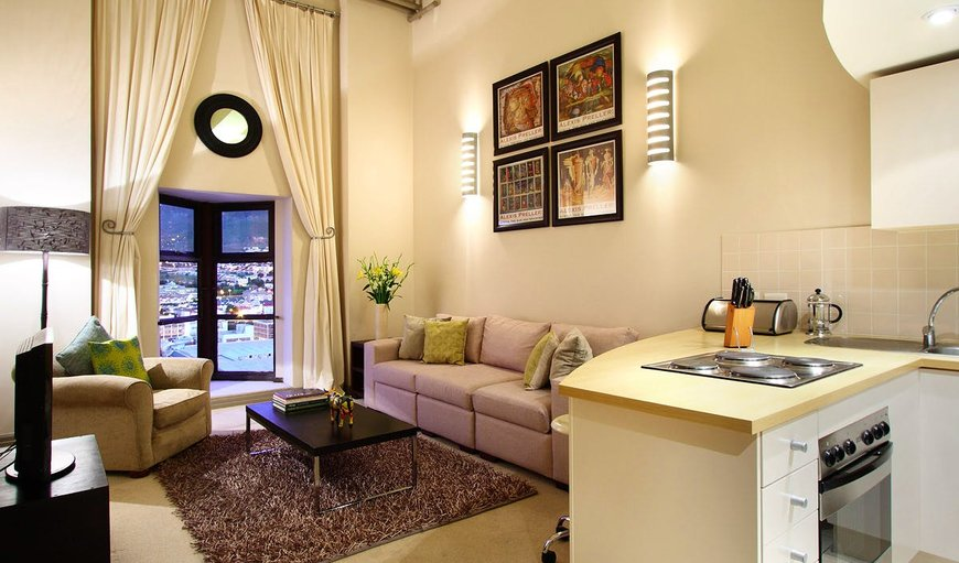 Open-plan lounge and kitchen. in Cape Town City Centre / CBD, Cape Town, Western Cape, South Africa