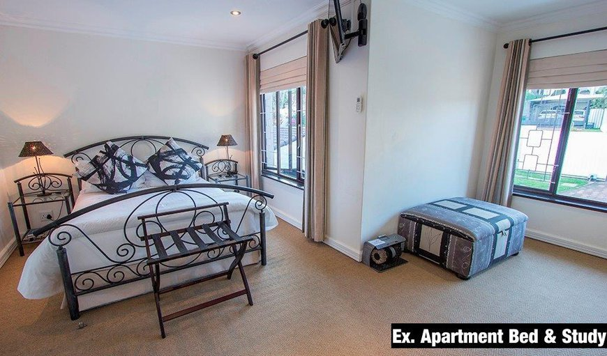 The executive apartment has a double bed and spacious room