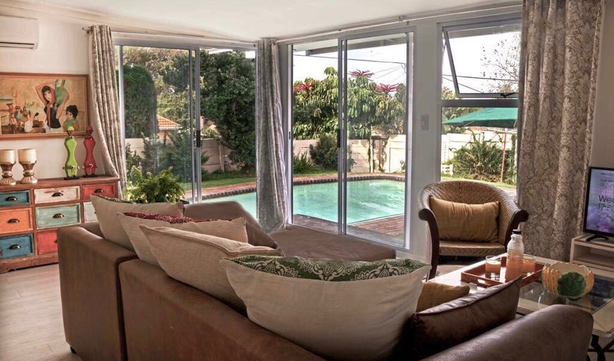 Lounge & living area overlooking pool in Blairgowrie, Johannesburg (Joburg), Gauteng, South Africa