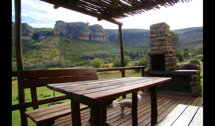 The chalet patio offer beautiful mountain views in Fouriesburg, Free State Province, South Africa