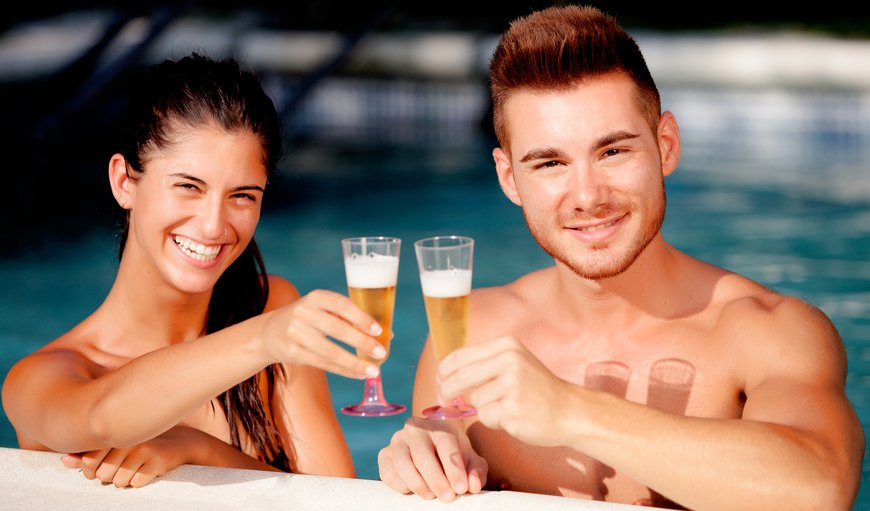 Our warm salt water pool is the perfect place to plan the rest of your lives together with a champagne toast!