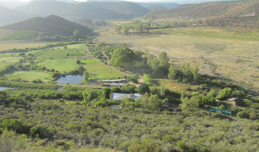 View over the farm and cottages from the mountain in Ladismith, Western Cape , South Africa
