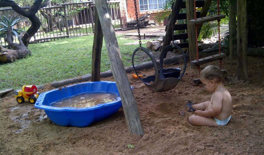 Children's play area - jungle gym and sand pit, close to adult supervision
